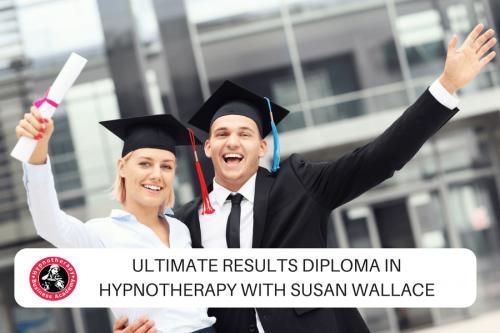 Two graduates celebrating with text overlay Diploma Hypnotherapy Course Dublin with Susan Wallace