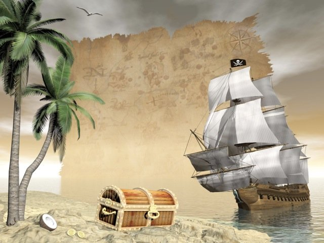 Treasure Chest and Sailing Boat beside deserted island