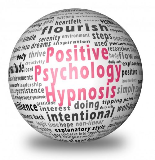 Ball with text from positive psychology with Positive Psychology Hypnosis in highlighted pink text