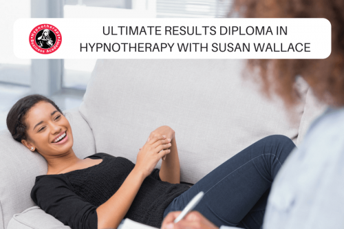 Happy hypnotherapist working with a client with text overlay Hypnotherapy Course Galway with Susan Wallace