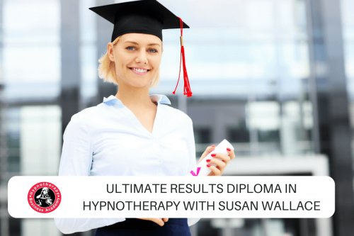 Happy Hypnotherapy Graduate with overlay text Hypnotherapy Course Limerick with Susan Wallace